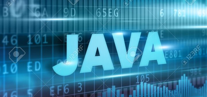 Java concept blue background with blue text