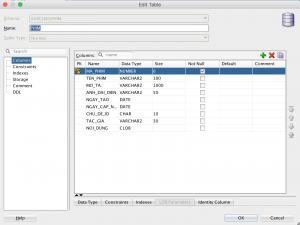 Bảng cơ sở dữ liệu Phim sử dụng kiểu Clob