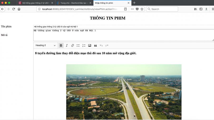 Kết quả tích hợp editor trong java web